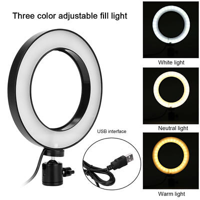 6inch LED Photo Video Camera Ring Light Dimmable Lamp Photography Accessory Kit