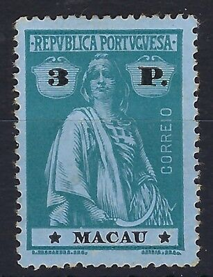 Macau 1913 Ceres 3p deep green on azure hinged mint