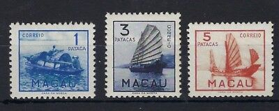 Macau 1951 1p 3p and 5p mint never hinged
