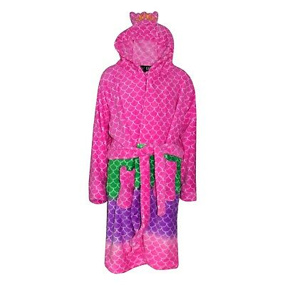 Kids Girls Bathrobe 3D Animal Mermaid Dressing Gown Soft Fleece Loungewear 2-13Y