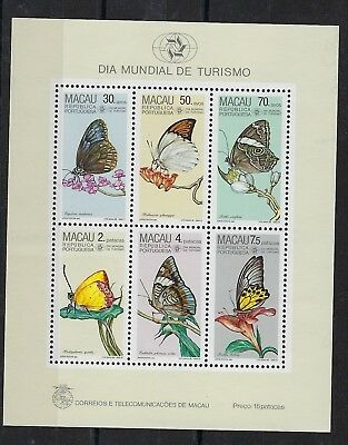 Macau 1985 Butterflies miniature sheet mint never hinged