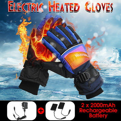 1 Pair Electric Heated Gloves Touch Screen Winter Warmer Rechargeable Battery