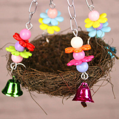 Natural Birds Nest Swing Toy With Bells Cage Perch Stand For Parakeet Cockatiel