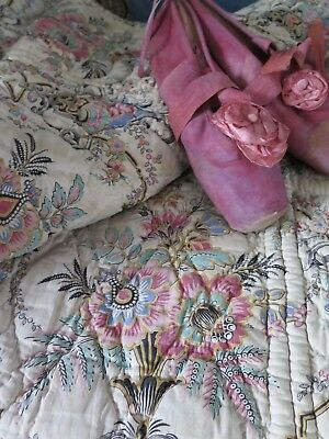 Antique french BOUTIS Paisley Provence Quilt Frankreich Alt Brocante SHABBY