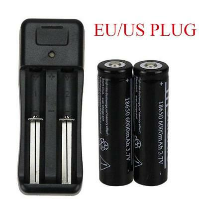 2pc 18650 6000mAh Battery 3.7V Li-ion Rechargeable Batteries and Charger EU Plug