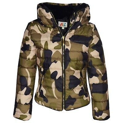 Kids Girls Jacket Padded Camouflage Puffer Bubble Fur Collar Quilted Coats 3-13