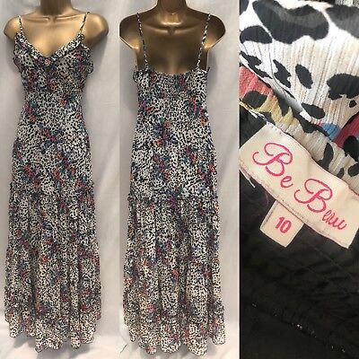 Be Beau maxi dress size 10 chiffon animal floral frill long strappy party 909
