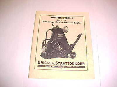 Antique Briggs & Stratton Gas Engine Owners & Parts Manual Book Model FH