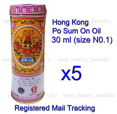 5 x Po Sum On Medicated Oil 30ml Headache Dizziness Muscle Pain Registered Post
