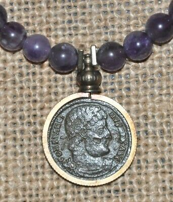 Authentic Ancient Roman Coin of Emperor Constantine the Great Amethyst Necklace