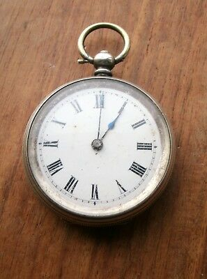 ANTIQUE SWISS 800 m SILVER  MECHANICAL REPOUSSE FOB WATCH