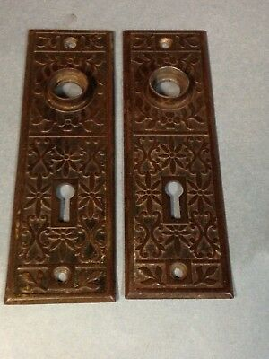 Antique Vintage Victorian Eastlake Door Knob Lock Keyhole Back Plate Part