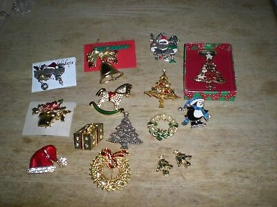 Lot of Vintage Christmas Pins 3 Signed