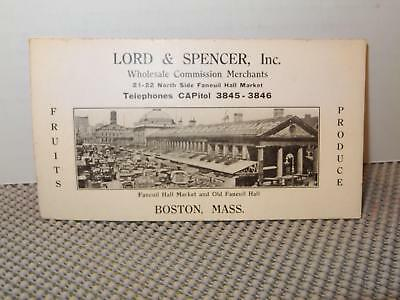 Lord & Spencer Inc, Boston,Massachusetts Fruits & Produce Ink Blotter