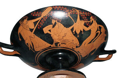Ancient Greek Kylix Pottery with Bacchante Museum Replica Reproduction