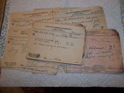 Lot Of 19 Doctors Prescriptions 1928 Saltville, Va. The Mathieson Pharmacy