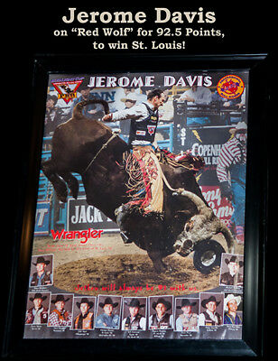 RODEO POSTER - Champion Bull Rider Jerome Davis on Red Wolf ; PRCA