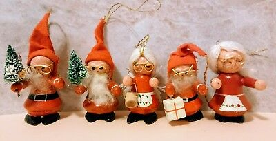 5 Vintage Wood Santa And Mrs Claus Christmas Ornaments
