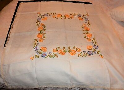 """Vintage Tablecloth  hand embroidered linen bright floral design  42"""" x 41.1/2"""""""
