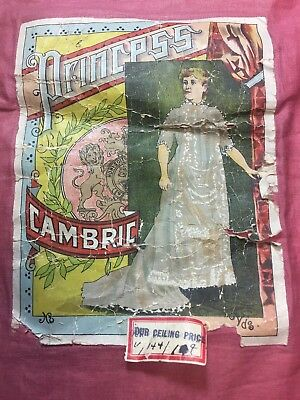 """Antique Cotton Fabric mid late 1800s Princess Cambric Solid Pink 24""""w 1yd"""