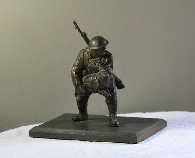 Antique c. 1918 WWI Soldier w/ Sargent Stubby Pitbull Bronzed Spelter Statue