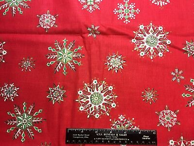 Vintage Cotton Fabric 40s50s Christmas Holiday NOVELTY Snowflakes 35w 1yd