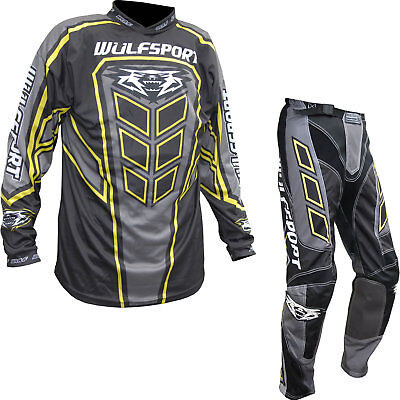 Wulf Axium Adult Motocross Jersey & Pants Grey Kit MX Offroad Top And Trouser