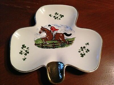 Carrigaline Pottery Shamrock Ashtray~Cork, Ireland~Steeplechase~Horse & Rider~EX