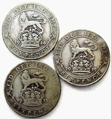 Great Britain Coins, Sixpence 1914 & 1915 & 1919, George V, Silver 0.925