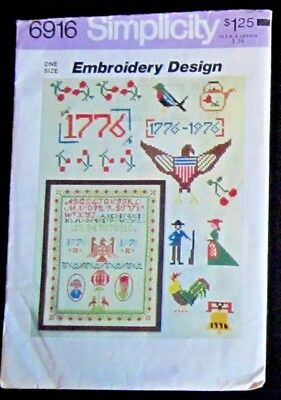 Simplicity 6916 VINTAGE Embroidery Design Military Country Sampler Pattern 1975