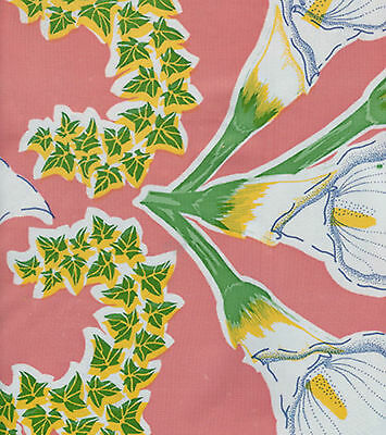 CALLA LILY Pink Flower Oilcloth Fabric Tablecloth Material Kitchen Craft Picnic