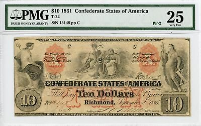 "1861 T-22 PF-2 Plate ""C"" $10 The Confederate States of America Note - PMG VF 25"