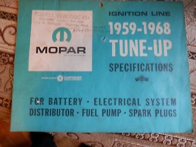 Vintage 1959 -1968  Chrysler Tune Up Specifications Battery Electrical Fuelpump