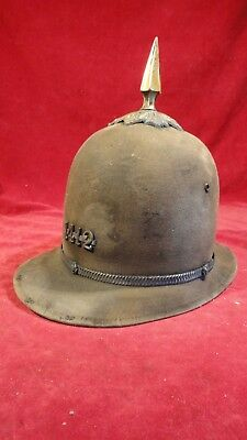 Rare 1800S American Spiked Police Helmet With Brass Numbering & Band