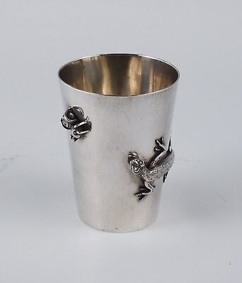 Antique c1900 Chinese Export Lizard & Bug 900 Silver Small Tumbler Shot Glass