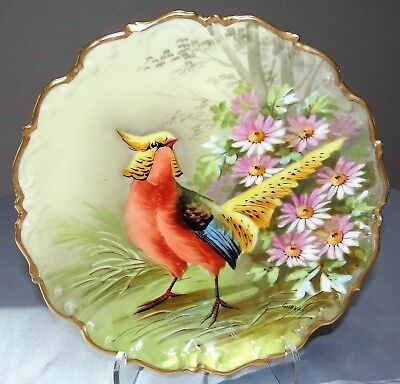 Antique Limoges Old Abbey Hand Painted Game Bird Charger Plate Signed Gilbert