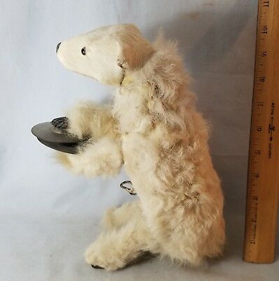 """Antique 19th C Clockwork Polar Bear Playing Cymbals Automaton 10"""" Tall NO Res"""