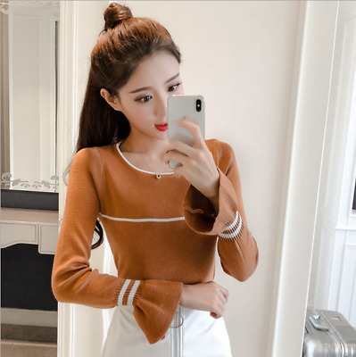 2018 autumn new style Korean fashion knitwear Tight Women's Long sleeves Tops