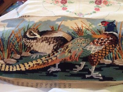 """Vintage Completed Anchor Tapestry Titled """" Pheasants"""""""