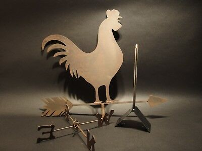 Antique Vintage Style Sheet Iron Folk Art Rooster WeatherVane