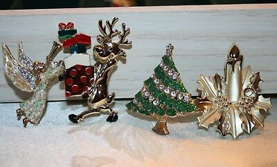 Vintage Christmas brooch lot  figural lot of 4 brooches, pins