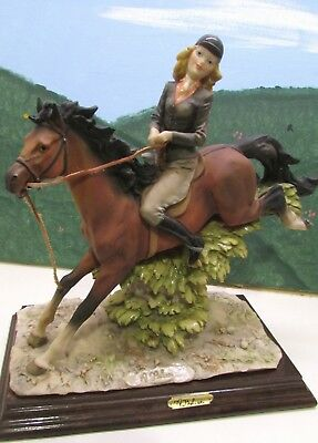 Fantastic Auro Belcari Horse And Lady Rider Figurine Beautiful Great Condition