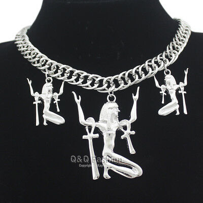 Ancient Egyptian Cleopatra Queen Silver Goddess Isis Ankh Cross Bib Necklace W3