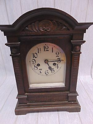 Antique Black Forest German BADISCHE UHRENFABRIK Mantel Clock Chimes + Key - E26