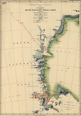 A4 Reprint of Map 1907 British Antartic Expedition South Magnetic Pole