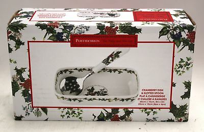PORTMEIRION Holly And Ivy Cranberry Dish With Slotted Spoon Boxed - O03