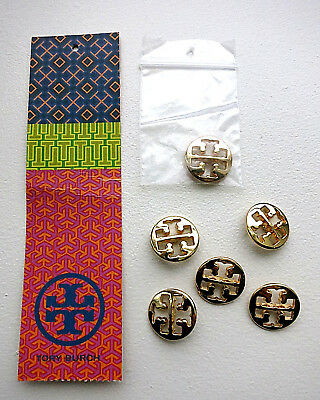 TORY BURCH Lot 6 Buttons Gold Monogram Metal Logo Replacement BRAND NEW 3/4 inch