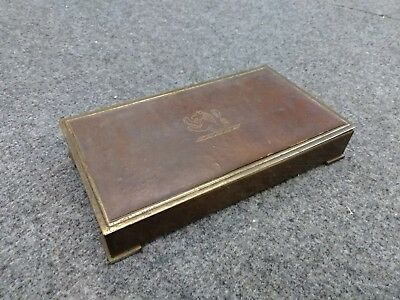 Vintage Leather Covered Brass Cigarette Box Roaring Lion Park Sherman Footed