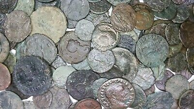 10 Bronze Ancient Roman Coins - Cleaned - Grab Bag - BC 27 - AD 476 - Var. Grade