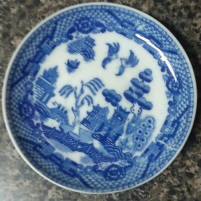 Vintage Miniature Willow Plate Blue & White made in Occupied Japan